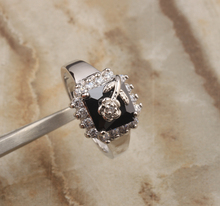 Classy Flowers Black Onyx White Cubic zirconia 925 Sterling Silver Trendy Party Jewelrys Rings US# Size 6 7 8 9 S0985