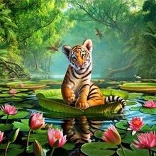 5D diy round full Diamond Painting Cross Stitch 3D Diamond Embroidery kits Diamond Mosaic tiger picture Home decor 20*20cm