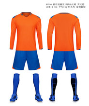Men long sleeve soccer sets men sports training sets male football jerseys and shorts adult running uniforms  free shipping