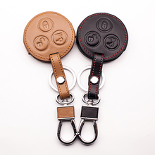 100% leather car key case car key cover Mercedes Benz smart two Key cases 3 buttons remote control car keys accessories