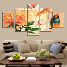 Unframed Oil Painting Effect Cartoon Picture Flower Leaf Bird Canvas Decorated Children Room Living Room Furniture Art Wall(China)