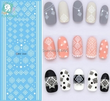 Rocooart DS264 Water Transfer Nails Art Sticker Winter Style White Snowflake Nail Wraps Sticker Watermark Fingernails Decals(China)
