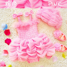 2017 baby girls swimsuits toddler girls hats+swim puff skirt clothing sets girls kids bowknot lace tutu dresses cute child swims(China)