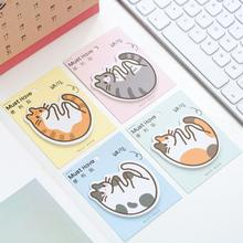 Round Meow Cat Baby Self-Adhesive N Times Memo Pad Sticky Notes Post It Bookmark School Office Supply(China)