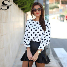 Sheinside Black Polka Dots Batwing Long Sleeve Round Neck Loose Tops Women Spring Hot Sale Clothes Fashion White Blouse