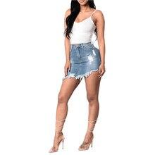 2018 moda nuevas mujeres Ripped Bodycon Stretch Denim Jeans falda verano  alta cintura señoras lápiz Mini e1db1094c10d