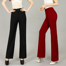 Free Shipping 2015 Autumn High Quality Women High Waist Big straight Linen Pants Ladys Wide Leg pants Girls Candy Color trousers