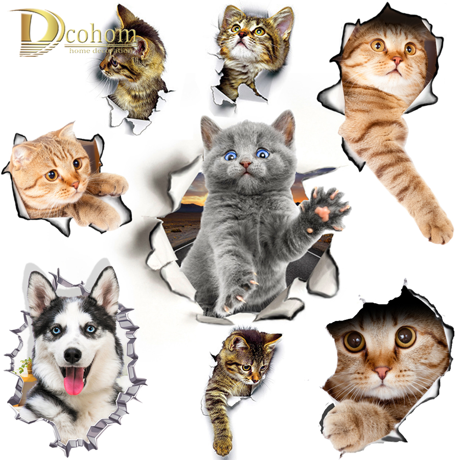 Hole View Cat Dog 3D Wall Sticker Bathroom Toilet Kids Room Decoration Wall Decals Sticker Refrigerator Waterproof Poster(China)