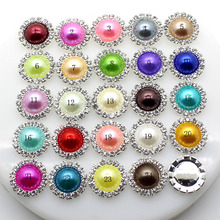 10pcs/Lot 15mm Pearl Wedding Diamond buttons Factor Outlets Rhinestones buttons DIY Hair Accessory Decorative button(China)