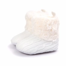Keep Warm Fluffy Baby Boots For Winter Slip-On Flat With Round Toe Baby Girl Boots Handmade High Quality Baby(China)