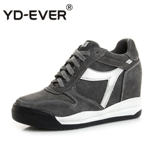 YD-EVER Genuine Leather Women shoes Trainers Breathable Sport height increasing causal shoes platform wedge sneakers(China)