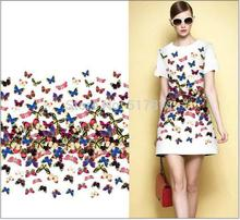 2017 New white botton wide 16MM Dobby Beautiful Butterfly Flowers Printed Dress Fabric Factory Wholesale/Retail(China)