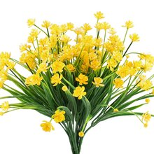Artificial 4pcs Faux Yellow Daffodils Greenery Shrubs Plants Plastic Bushes Indoor Outside Hanging Planter Wedding Cemetery
