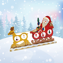 New ! Wood Christmas Decoration for Home Christmas Sled Deer Santa Claus Giving Presents Bell Doll Skiing on the Snowfield 30cm
