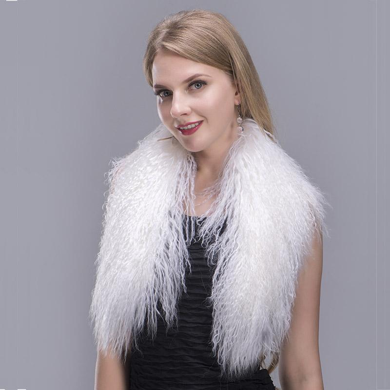 tibet lamb fur scarf white 1