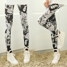 2015 New Fashion Women Ladies Punk Newspaper Printed Graffiti Stretchy Sexy Pencil Skinny Pants 5XCP