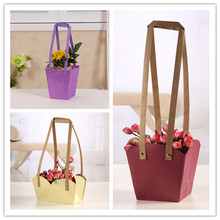 Creative Waterproof Flower Packing Bags Kraft Paper PP-woven With Paper Rope Customize Bonsai Package Plant Flower Pot Carrier