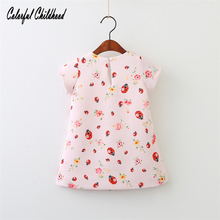 2-8Yrs Girls dress spring new ladybug printing pattern Dress infant baby clothes dress for girl clothing princess party vestidos(China)