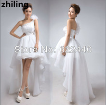 Short Front Long Back Wedding Dresses Beaded Bridal Gown Flowers One Shoulder High Low Weddng Dress