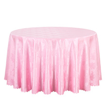 10PCS White Pink Round Table Cloth For Hotel Wedding Party Jacquard Damask Table Linens Solid Table Cover Dining Tablecloths(China)
