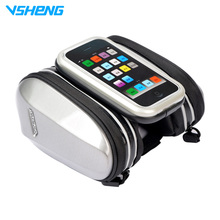 "VSHENG Bicycle Top Tube Bag 4""/4.7"" Phone Case Front Frame Bike Saddle Bag Rainproof Cycling Accessories Bicycle Bags Panniers"