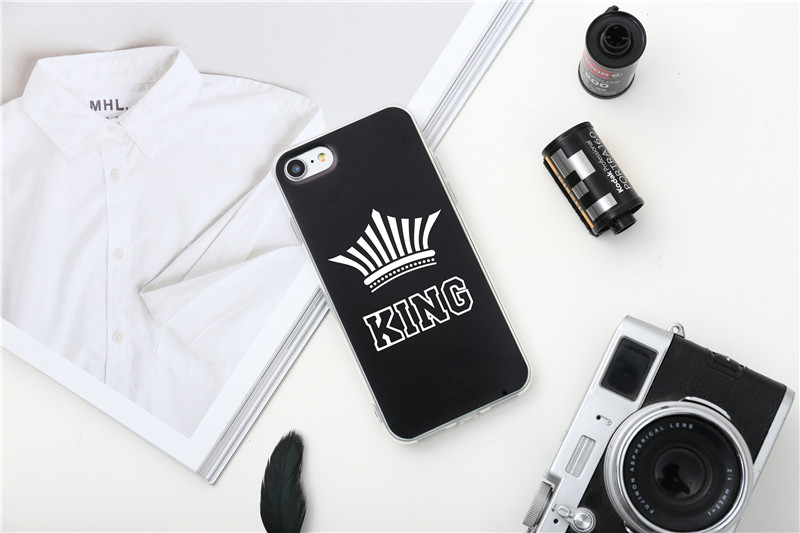 Valentine KING Queen Case for iPhone 6 Case for iPhone 5s 5 Cover Clear Silicone TPU Soft Phone Case for iPhone 8 7 6s Plus Cape 31