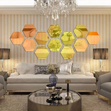 12Pcs 3D Mirror Wall Sticker Hexagon Vinyl Removable Wall Sticker Decal Home Decor Art DIY  free shipping