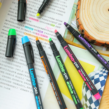 6 pcs/Lot Lumina pens Highlighter for paper copy fax DIY drawing Marker pen Stationery office material School supplies