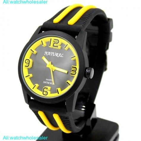ALEXIS Sporty Black Dial Black Watchcase Silicone Black Band  Yellow Fashion Watch FW848O<br><br>Aliexpress