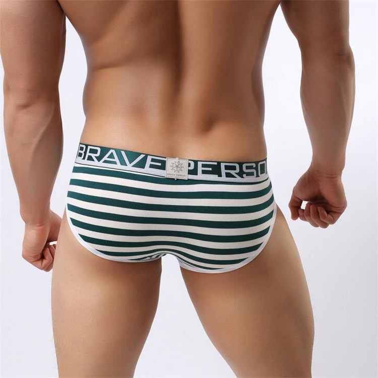 Hot sell Brave Person Brand Underwear Men's Cotton Striped Briefs Underpants Men Panties Comfortable Wide Belt Underwear 1154 20