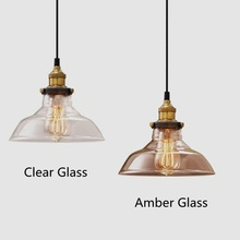 Amber/Clear Glass Vintage Pendant Lights Kitchen Island Office Bar Shop Modern Lighting Fixtures Industrial Pendant Ceiling Lamp(China)