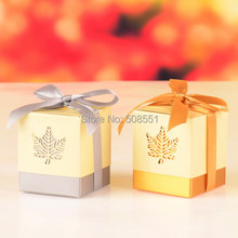 12pcs  Maple Leaf Wedding Paper Box For Candy Box Party Chocolate Boxes Packaging For Gifting Laser Cut Box Free Shipping