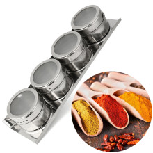 4pcs/set Condiment bottles Stainless Steel Magnetic Spice Storage Jar Tins Container With Rack Holder(China)