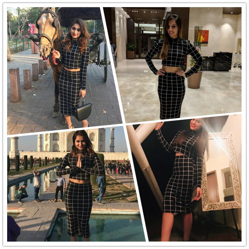 Sheinside Stand Collar Long Sleeve 2 Piece Set Women Crop Grid Top & Pencil Skirt Co-Ord Ladies Elegant OL Style Twopiece