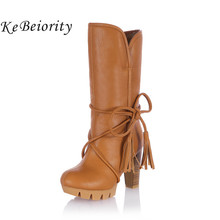 KEBEIORITY 2017 Women Warm Snow Boots Winter Women Riding Boots Female High Heels Thick Heel Women's Boots Lace Up High Boots(China)