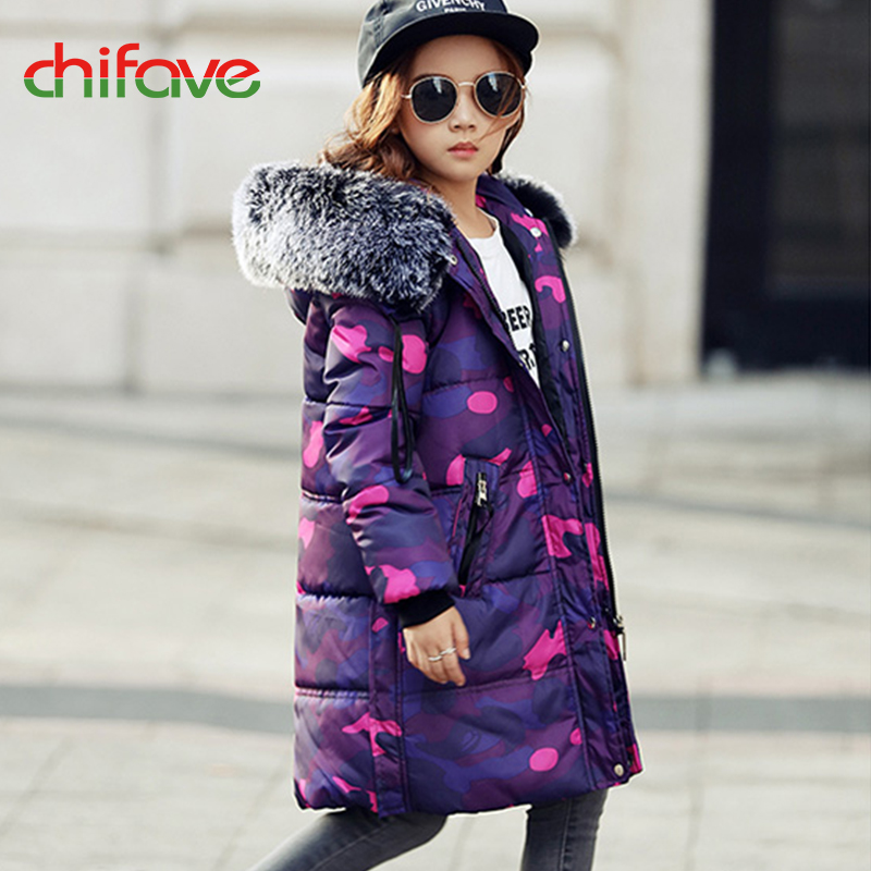 2017 chifave Baby Girls Boys Winter Jacket New Kids Boys Girls Coat Hooded Fur Collar Warm Camouflage Parkas Children Jacket Îäåæäà è àêñåññóàðû<br><br>