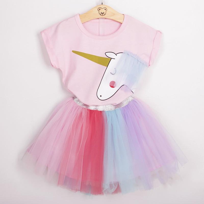 2018 PPXX Baby Girl Clothing Set Cartoon Unicore Top Girls T Shirt Tutu Skirt Fashion Rainbow Color Lace Party Suit Casual 2pcs