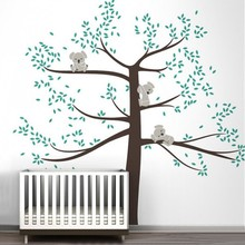 Spring Koala Tree Vinyl Wall Decal Removable Wall Sticker Tree Nursery Vinyls Baby Room Decor Wall Stickers Home Decoration D503(China)