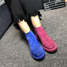 Spring Carved Genuine Leather Women's Boots Martin Boots Women's Shoes Chelsea Boots Preppy Style Flat Heels Candy 12 Colors