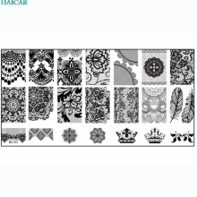 1 piece Nail Stamping Plates Big Image Pattern Transfer Print Template Nail Stencil Stamps DIY Tools Sep27