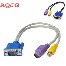 VGA Male SVGA To S-Video RCA Jack Video Composit Converter Connector Adapter Cable For TV PC Laptop(China)