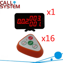 Wireless Paging Calling Buzzer System 1 Display Receiver With 4Keys Call Button For Hotel Equipment( 1 display+16 call button )(China)