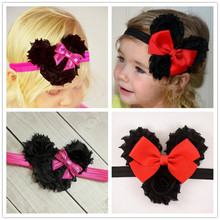 1pcs Mickey newborn tubran hair band with shabby flower hairpins baby head wrap girl headwear children headbands infant headwear(China)