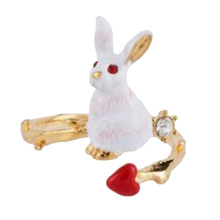 Lovely Rabbit Opening Ring For Women Simple Enamel Heart Rings Fashion Jewelry(China)