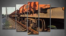BANMU No Frame 5 Panels Red Old Rail Freight Car Painting Picture Print On Canvas Car Pictures Painting Wall