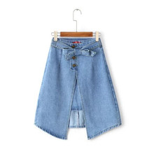 Stylish Bow Sashes Asymmetrical Hem Denim Skirt Retro New Women Slit front A-line Knee length Skirts Femme Blue