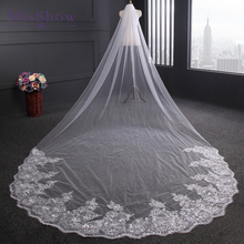 4 Meter Ivory/White Bridal Veils Lace Edge Tulle Bling Seuqins Cathedral Wedding Veil 2017 Long Veu de Noiva Wedding Accessories