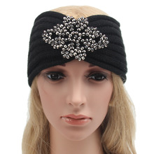 22*10cm Women Winter Knitted Headband Crochet Rhombus Rhinestone Hair Accessories Ladies Elastic Hair Bands  Muslim Head Band