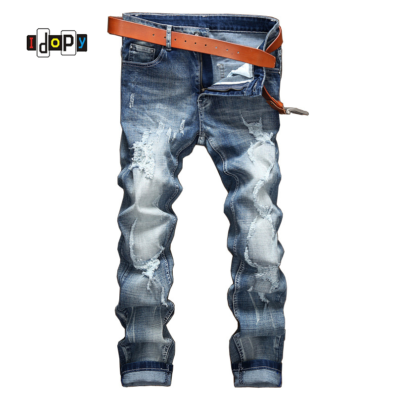 Idopy Hi-street Fashion Mens Ripped Jeans Brand Designer Men Straight Fit Stretch Denim Pants Begger Jean Joggers For Men