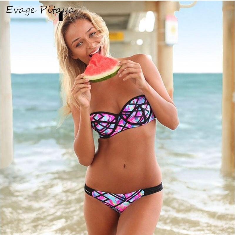Sexy bandeau bikini push up swimsuit women swimwear strapless bikini 2017 print swim suit beach wear maillot de bain push up top<br><br>Aliexpress